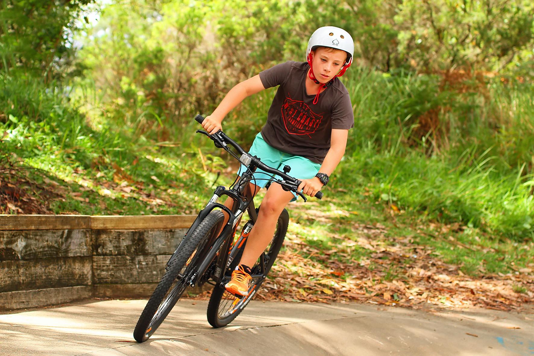 Bike riding at the skate park